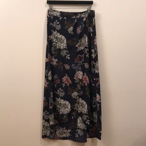 high Waisted Hi Low Faux Wrap Skirt